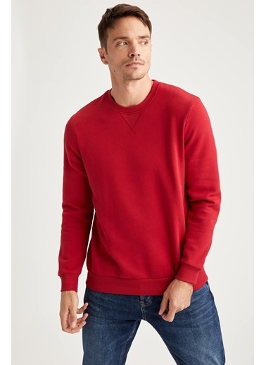 DeFacto Regular Fit Bisiklet Yaka Sweatshirt Kırmızı